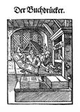 XVI century - Art and craft: books print workshop Stock Photos