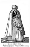 XVI century fashion, lady with little girl, vintage engraving. Nurenberg, year 1547 - Lady and girl dress Stock Photos