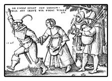 XVI century, peasants playing and dancing Royalty Free Stock Photos