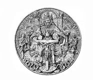 XVI century, silver coin (thaler) with the portrait of Maurice of Saxony Royalty Free Stock Images