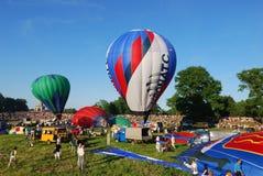 The XVI-th Velikie Luki International Balloon Meet. VELIKIE LUKI, RUSSIAN FEDERATION, JUNE 12 :Opening of the XVI-th International Balloon Meet, pilots preparing Royalty Free Stock Photos