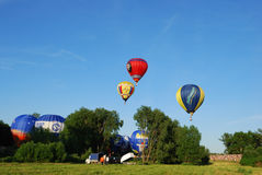 The XVI-th Velikie Luki International Balloon Meet. VELIKIE LUKI, RUSSIAN FEDERATION, JUNE 12 :Opening of the XVI-th International Balloon Meet, pilots preparing Stock Photography
