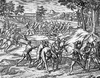 XVI wiek: Hiszpańscy żołnierza zrozumienia inka aborygeny ilustracji