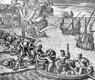 XVI wiek: Hiszpańscy żołnierze ruszają się ich szaber na pokładzie ilustracji