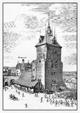XVII century engraving, Danzig, now Gdansk, prison tower  Stock Photography