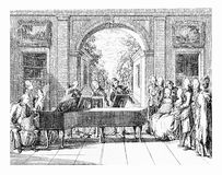 XVIII century engraving, music entertainment Stock Photos