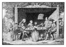 XVIII century  leisure, spring excursion outdoors. Year 1763, spring trip to the countryside,  happy company drinking and chatting leisurely Royalty Free Stock Photos
