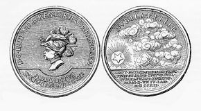 XVIII century, silver medal for the birth of Frederick the Great Royalty Free Stock Image