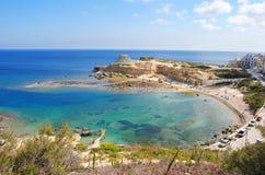 Xwieni zatoka blisko Marsalforn na Gozo wyspie Zdjęcia Stock