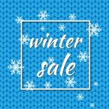 XWinter försäljning också vektor för coreldrawillustration Vinterbakgrund av blått färgar med snöflingor och ljus för säsongsbeto Arkivfoton
