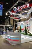 XX圣彼得堡国际经济论坛(SPIEF 2016年俄罗斯) 制造商直升机场立场  免版税库存照片