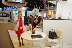 XX圣彼得堡国际经济论坛(SPIEF 2016年俄罗斯) 立场网上出版物和通讯社口岸 库存图片