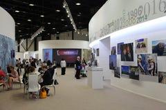 XX Świątobliwy Petersburg międzynarodowy ekonomiczny forum (SPIEF 2016 Rosja) Prasowy café w prasowym centrum forum Zdjęcie Stock