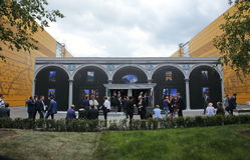 XX Świątobliwy Petersburg międzynarodowy ekonomiczny forum (SPIEF 2016 Rosja) zewnętrznie widok pawilon Włochy Zdjęcia Royalty Free
