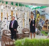 XX internationales Wirtschaftsforum St Petersburg (SPIEF Russland 2016) der Stand von Hersteller segezha Lizenzfreie Stockfotos