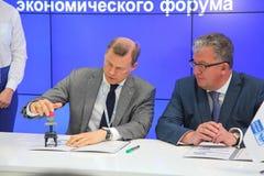 XX kreeg het internationale economische forum van Heilige Petersburg (SPIEF 2016 Rusland) zijn postzegel Stock Foto