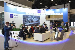XX Saint Petersburg international economic forum  SPIEF 2016 Russia . the stand of the AIRR Royalty Free Stock Photos