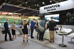 XX St Petersburg internationellt ekonomiskt forum (SPIEF Ryssland 2016) ställning av Republiken Vitryssland Fotografering för Bildbyråer