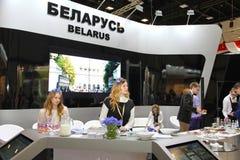 XX St Petersburg internationellt ekonomiskt forum (SPIEF Ryssland 2016) ställning av Republiken Vitryssland Royaltyfri Foto
