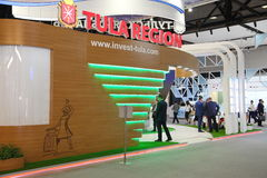 XX St Petersburg internationellt ekonomiskt forum (SPIEF Ryssland 2016) ställningen av regionen av tula oblast Royaltyfria Bilder