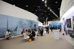 XX St Petersburg internationellt ekonomiskt forum (SPIEF Ryssland 2016) Tryck på café i pressmitten av forumet Royaltyfria Bilder