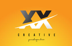 XX X X Letter Modern Logo Design with Yellow Background and Swoo Stock Photo