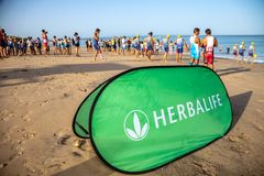 XXI Triathlon Herbalife Villa de Rota stockbilder
