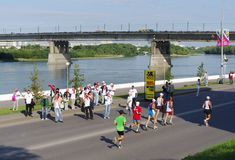 XXII西伯利亚国际马拉松,鄂木斯克,俄罗斯 06 08 2011年 免版税库存图片