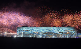 XXII Olympic Winter Games closing ceremony. SOCHI, RUSSIA - FEBRUARY 23, 2014: fireworks above olympic park at XXII Olympic Winter Games closing ceremony Royalty Free Stock Photo