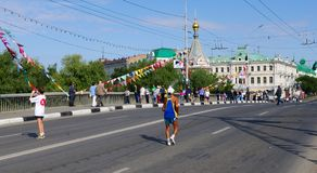 XXII Siberian internationell maraton, Omsk, Ryssland 06 08 2011 Royaltyfria Bilder