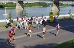 XXII Siberische internationale marathon, Omsk, Rusland 06 08 2011 Stock Afbeelding