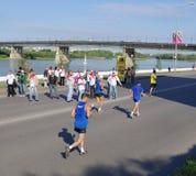 XXII Siberische internationale marathon, Omsk, Rusland 06 08 2011 Royalty-vrije Stock Afbeeldingen