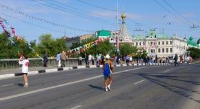 XXII sibirischer internationaler Marathon, Omsk, Russland 06 08 2011 Lizenzfreie Stockbilder