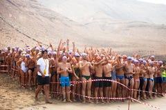 XXII Travesía a Nado El Río in Lanzarote Stock Images