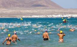 XXII Travesia un EL Río de Nado en Lanzarote Fotografía de archivo libre de regalías