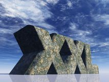 Xxl. The letters XXL rock in front of blue sky - 3d illustration Stock Photos