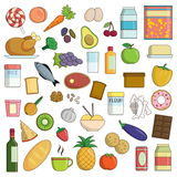 XXL collection of food and drink icons Stock Photos