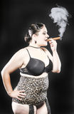 XXL Model Smoking Cigar Stock Images