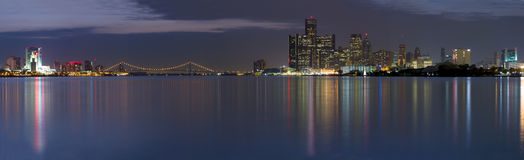 XXL Panorama of the Detroit Windsor Skyline. XXL Panoramic of the Detroit Windsor skyline with the Ambassador Bridge connecting the United States with Canada Stock Photos