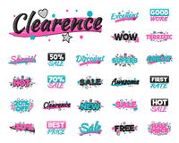 XXL set of artistic sale, discount, encouragement achievement and advertising stickers Stock Photos