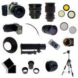 XXL. Set der fotographischen Ausrüstung. 16 Elemente Lizenzfreie Stockfotos