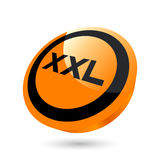 XXL size button. Three dimensional illustration of circular button with word XXL, isolated on white background Stock Images