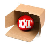 XXL size concept. Open cardboard box and 3D sale ball, photo does not infringe any copyright Royalty Free Stock Images