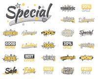XXL-uppsättning av konstnärlig försäljning, rabatt, uppmuntranprestation och advertizingklistermärkear royaltyfri illustrationer