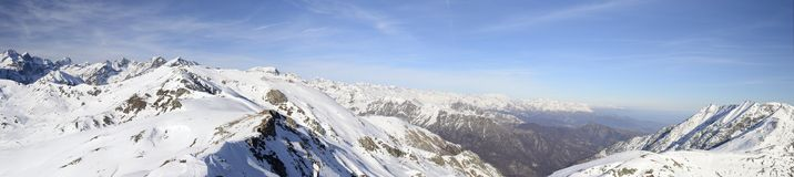 XXL view of the alpine arc in winter Royalty Free Stock Photos