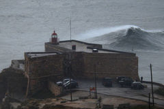 XXL waves in Nazare Portugal Royalty Free Stock Image
