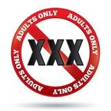 XXX成人只使标志满意。按钮。 免版税库存图片