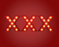 XXX Adboard. Glowing lights XXX adboard ready for adult content material Stock Photo