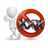 XXX adults only content sign. Age limit icon. with 3d guy Royalty Free Stock Photo