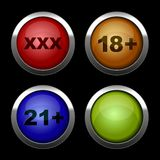 Xxx buttons icons set. Red, orange, blue and Royalty Free Stock Image